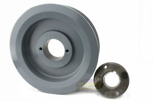 Cast Iron 6 5 2 Groove Dual Belt B Section 5l Pulley W 1 3 8 sheave Bushing