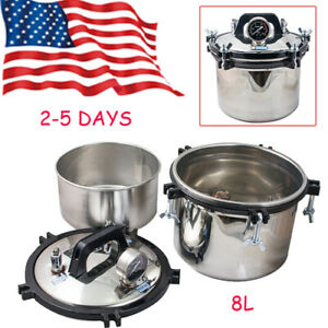Portable 8l Dental High Pressure Steam Autoclave Sterilizer Sterilizing Pot Hot