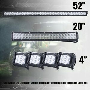 52inch Led Light Bar Combo 22 4 Cree Pods Offroad For Suv 4wd Ford Jeep