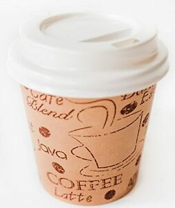 Disposable Espresso Cups With Lids 4 Ounce Cafe Paper Coffee Cup With Lid