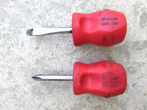 Snap On Stubby Screwdriver Set Shd1 Flat Shdp221r Phillips Hard Red Handles