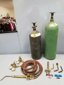 Used Filled Acetylene And Oxygen Welding Tanks With Torch Regulator