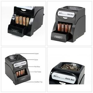 Quick Coin Sorter Electric Money Counter Machine Change Wrapper Anti Jam Black