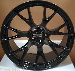 22 Rims Gloss Black Staggered Wheels Hellcat Fit Dodge Challenger Charger 300c
