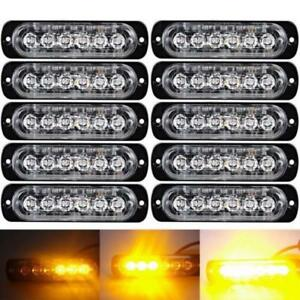 10pcs Amber White 6 Led Emergency Hazard Warning Flash Strobe Beacon Caution L