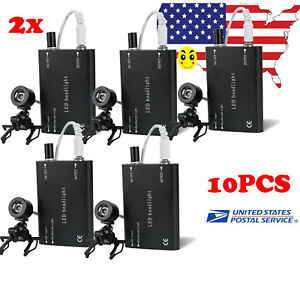 Portable 1 10pc Led Head Light Lamp Clip For Dental Surgical Binocular Loupes Ce