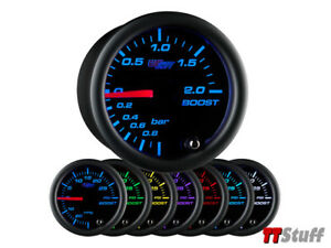 Glowshift Black 7 Color Led Clear Lens 2 Bar Turbo Boost Vacuum Gauge 52mm