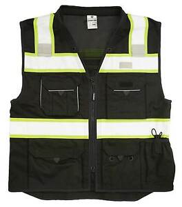 Ml Kishigo B500 Safety Vest Black With Lime Yellow And Silver Reflective Large