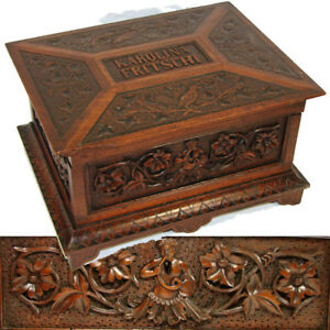 Antique Victorian Carved Jewelry Sewing Box Chest Ornate Figural Dated 1873