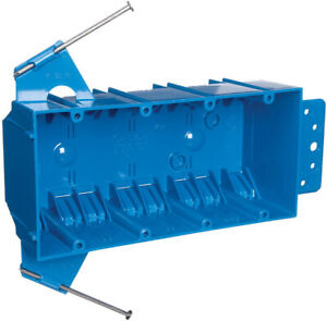 Carlon 7 3 5 In Rectangle 4 Gang Outlet Box Blue Pvc