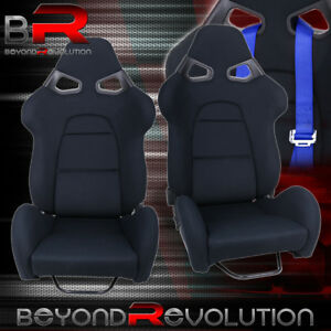 2x Fully Reclinable Racing Black Cloth Bucket Seat Universal Cuga Style Comfort