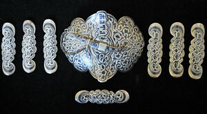 Large Antique Russian 84 Silver Hand Crafted Enamel Belt Buckle 7 Loops Signed