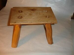 Primitive Slab Footstool From White Oak Made In Usa