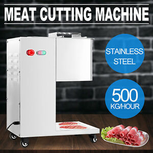 500kg h Stainless Steel Meat Cutting Machine W Pulley Slicing 3mm Blade Lamb