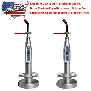 2 X Usa To Brazil Mexico Dental Cordless Led Curing Light Lamp Silver Top