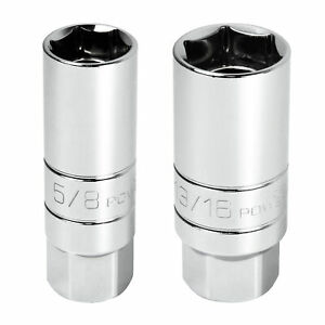 Powerbuilt 2 Pc 3 8 In Drive Magnetic Spark Plug Socket 5 8 in And 13 16 in