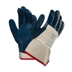 Ansell 27 607 9 Hycron Blue Nitrile Coated Safety Cuff Gloves 12 Pairs 1 Dz