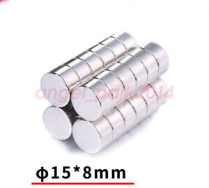 5 50pcs 15mm X 8mm Strong Round Disc Big Fridge Magnets N50 Rare Earth Neodymium