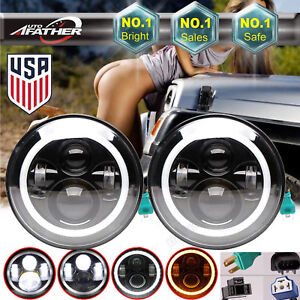 For Jeep Wrangler 7 Led Headlights Halo Angel Eyes Headlights Jk 07 2018 Hi Lo