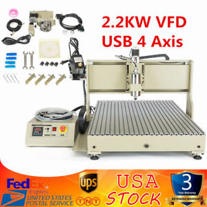 4 Axis Cnc 6090 Router Engraver Engraving Milling Drilling Machine 2 2kw Usb Vfd