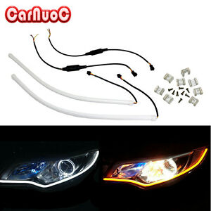 2x45cm Flexible 6000k White Amber Switchback Led Daytime Running Drl Light Strip