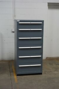 Used Lista 6 Drawer Cabinet Industrial Tool Parts Storage Bin 1451 Vidmar