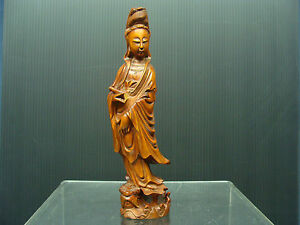 Antique Chinese Wood Quan Yin Goddess Of Mercy Statue
