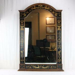 An Antique Italian Painted Pier Mirror Ebonized And Painted Faces Roman Rare