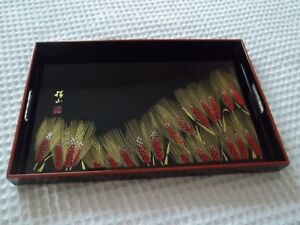 Japanese Antique Vintage Red Black Lacquer Wood Rectangular Serving Tray Marusei