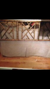 Headboard Mid Century Bamboo Style Design Gilt Metal Queen Size 54 High 2000