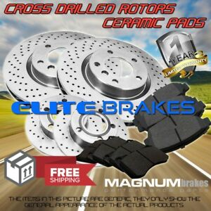 F R Drilled Rotors Pads For 2011 2014 Ford Mustang Gt 5 0l W o Brembo Brakes
