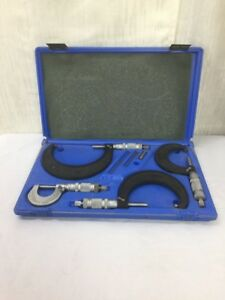 Vtg Central Tools 4 Piece Caliper Micrometer Set 0 4 Inch No 6151
