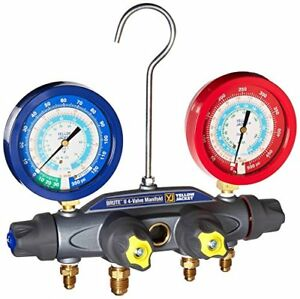 Yellow Jacket 46041 Brute Ii 4 valve Manifold Liquid Gauges Psi R 22 134a 404a