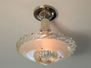 Beaded Nickel War Era Ceiling Light Vintage Glass Shade New Custom Fixture