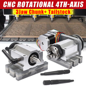 Cnc Lathe Router Rotational Rotary Axis A axis 4th axis 3jaw Chunk Tailstock