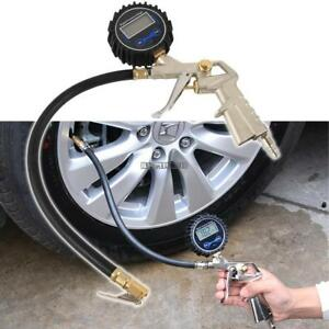 Air Tire Inflator With High Accurate Lcd Digital Pressure Gauge Brass Chuck Clip