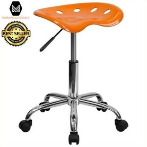Adjustable Height Stool With Tractor Seat Rolling Back Less Metal Frame Chair