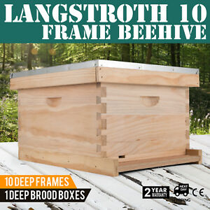 Langstroth Bee Hive 10 Frame 1 Deep Box includes All Frames Free Shipping