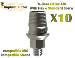 X10 Cad Cam Ti Base For Dental Implant Sirona Mis Ab Compatible With Hex