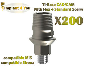 X200 Cad Cam Ti Base For Dental Implant Sirona Mis Ab Compatible With Hex