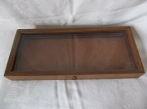 Oak Wood Display Case 20 X 8 3 4 X 2 1 4 Arrowheads Knives Collectibles Coins