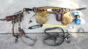 Vintage Klein Tools Buckingham Pole Climbing Spikes Gaffs Lineman Belt Bag Lot