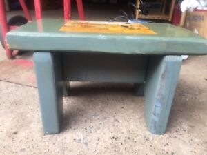 Vintage Primitive Wood Footstool Blue Paint Decoupaged Pic Character Patina