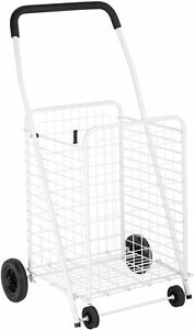 White Heavy Duty Folding Utility Cart Shopping Grocery Laundry Rolling Trolley