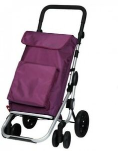 Plum Lightweight Folding Shopping Grocery Cart Tote Bag Travel Rolling Carrier