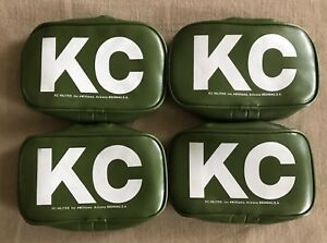 Vintage Nos Kc Hilites 5504 Green Rectangle Light Covers Set Of 4 New