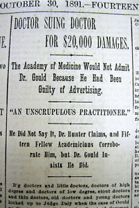 1891 Newspaper Advertising Medical Doctor Sues Ny Medical Society To Be Admitted