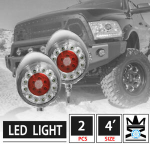 2pcs 4 5 Round Off Road Clear Lens Red Led Work Lights W Chrome Cover