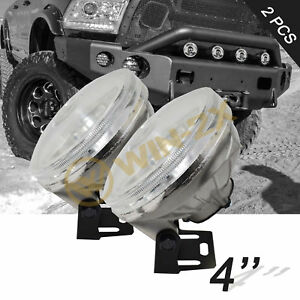 2pcs 4 Round Off Road Clear Lens Work Fog Lights W H3 Bulbs Mounting Brackets