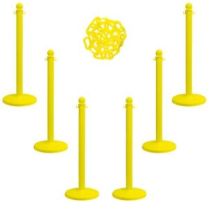 7 Pc Visual Barrier Kit Safety Set Stanchion Chain Traffic Control Walkway Metal